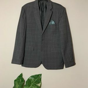 2pc Grey/Blue Plaid Suit Made In Italy